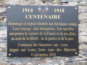 nouvelle plaque commémorative centenaire armistice